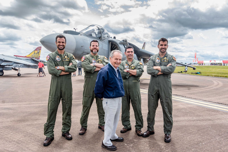 Tom Lecky-Thomson and Harrier pilots at RIAT