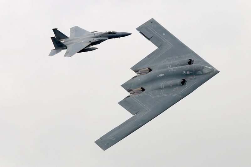 B2A Spirit and F15 at RIAT