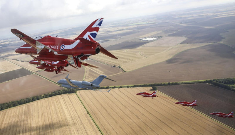 Red Arrows and Sentinal en route to Scampton