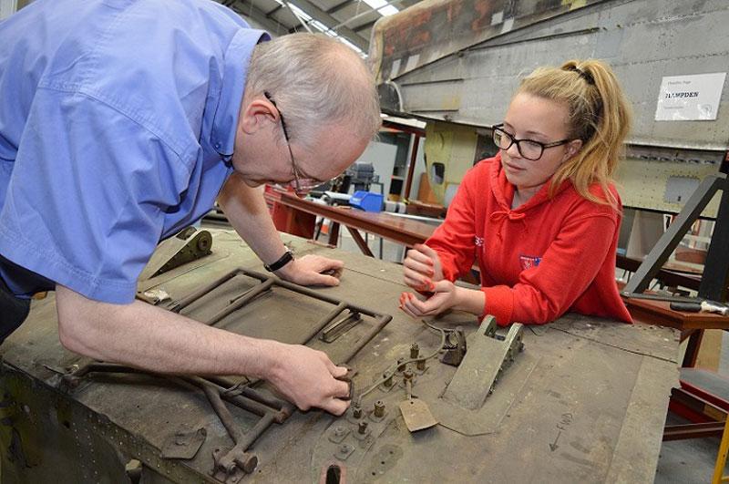 Student helping restore Hampden bomber