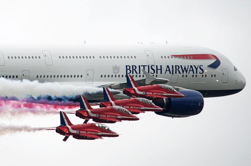 Red Arrows Flypast with A380 RIAT 2013