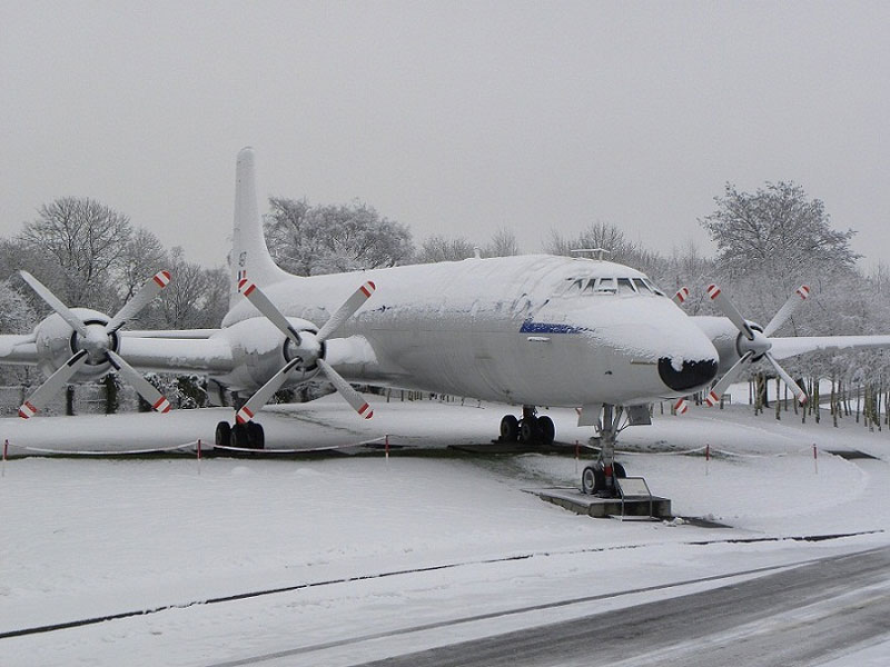 snow covered Britannia at RAF Cosford