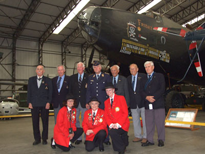 RAF and Luftwaffe veterans in front of Halifax